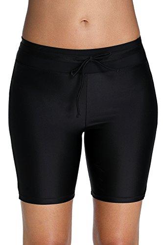 t Bottoms for Women High Waisted Swim Boy Shorts XXL Black ()