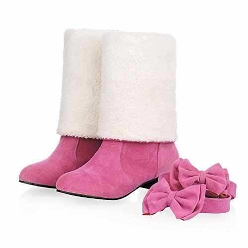 Show Shine Womens Fashion Sweet Detachable Bows Fold Over Tall Boots Pink
