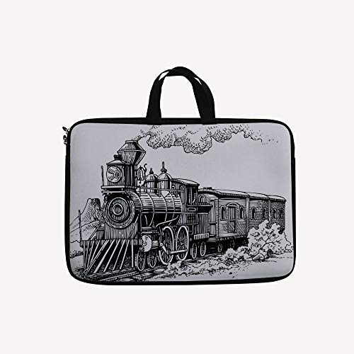 3D Printed Double Zipper Laptop Bag,Country Locomotive Wooden Wagons Rail Road,10 inch Canvas Waterproof Laptop Shoulder Bag Compatible with 9.7