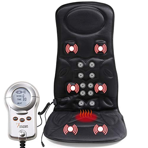 VIKTOR JURGEN Car Back Massager with Heat - 6-Motor Vibration Massage Seat Cushion - Pain Relief for Full Back, Shoulder and Thigh Pains-Best Gifts for Men/Husband