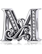 BETTY&SARAH 925 Sterling Silver Letter Charms for Pandora Bracelets Alphabet Initial Beads Jewelry Gift for Women