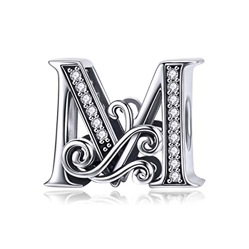Solid 925 Sterling Silver with Cubic Stones, Complete A~Z Gift Options Alphabet Charm Letter Beads fit Pandora European Bracelets (M)