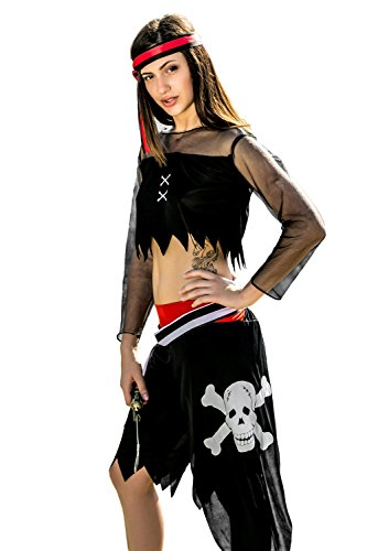 Adult Women Hot Pirate Babe Halloween Costume Sexy Buccaneer Dress Up & Role Play (One Size - Fits All, black, red, white)