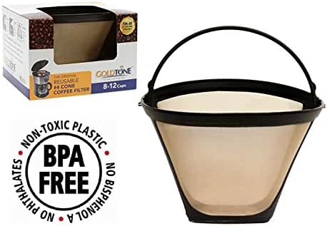 GoldTone Brand Reusable #4 Cone replaces your Ninja Coffee Filter for Ninja Coffee Bar Brewer - BPA Free