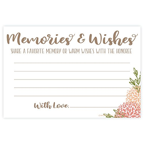Coral Floral Share a Memory - Memories and Wishes Cards (50 Count)