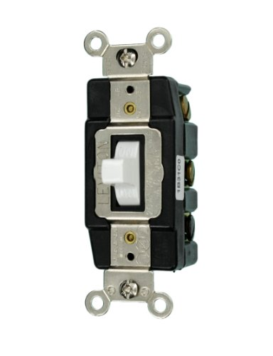 Leviton 1286-W 20-Amp 120/277-Volt Toggle Double-Pole AC Quiet Switch, White ()