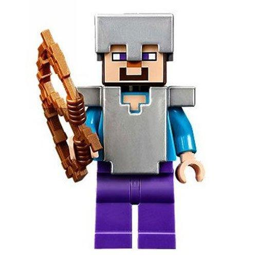 Lego Minecraft Steve con armadura de hierro y arco