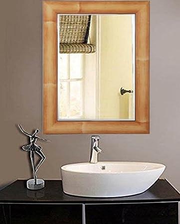 Zahab Natural Brown Fiber Wood Frame Bathroom Mirror Wall