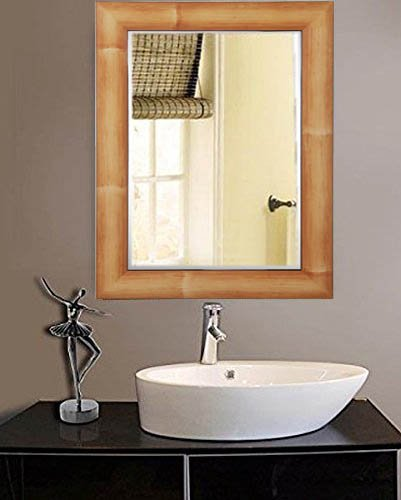 Buy Zahab Natural Brown Fiber Wood Frame Bathroom Mirror Size