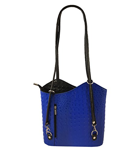 FreyFashion - Made in Italy - Bolso mochila  para mujer Kroko Blau-Schwarz