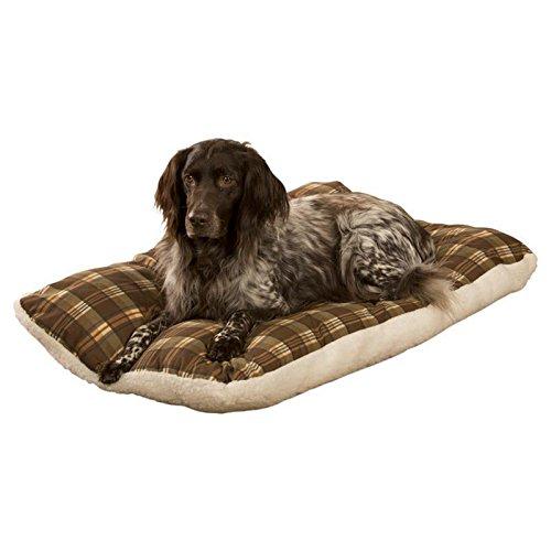 Lammflor (Lammfell-Optik) Hundekissen, Hundebett mit Sommer und Winterseite, Wendefunktion, Oberseite 100% Baumwolle, waschbar, Größe: XL 80x120 braun