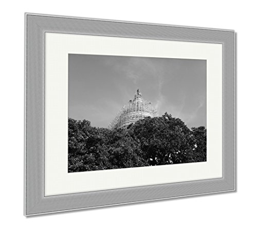 Ashley Framed Prints Scaffolding On Capitol Hill Peeks Through Trees On A Clear Blue Day, Wall Art Home Decoration, Black/White, 34x40 (frame size), Silver Frame, - Hill Capital Mall