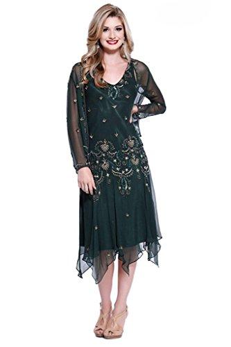 dressvip gasa vaina Vestidos de longitud de la cuello de pico colorido té madre con chaqueta verde oscuro