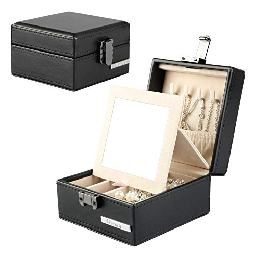 Homde Travel Jewelry Organizer Small Box with Mirror for Necklace Earrings Rings Gift for Men Women Black (Boxs Jewerly)