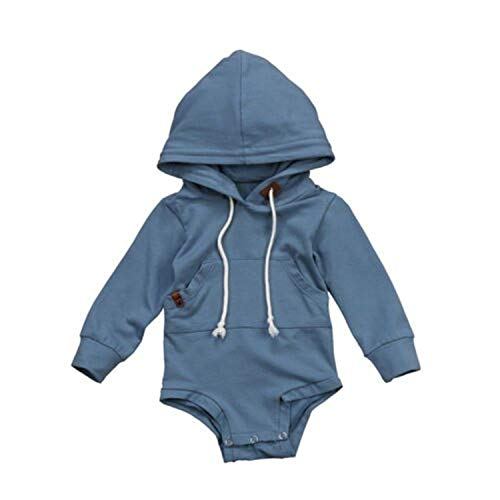 Fashion Baby Outdoor Playsuit, Newborn Baby Boy Girl Long Sleeve Hooded Romper Pullover Tops 12M
