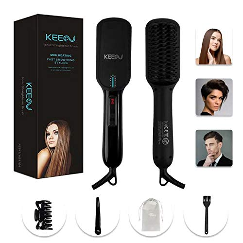 KEEOU 2 in 1 Ionic Hair Beard Straightener Brush, Dual Voltage 30s Fast MCH Ceramic Heating Hair Straightening Brush Protect Sensitive Scalp, Anti-Scald Auto-Off Electric Comb