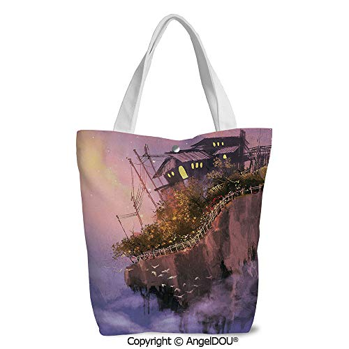 Fashion Printed Shoulder Canvas Shopping Bag Old House over the Cliffs on High P]()