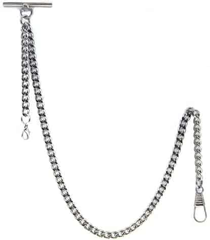 Albert Chain Pocket Watch Curb Link Chain Silver Color Plating T-Bar + Lobster Clasp AC34