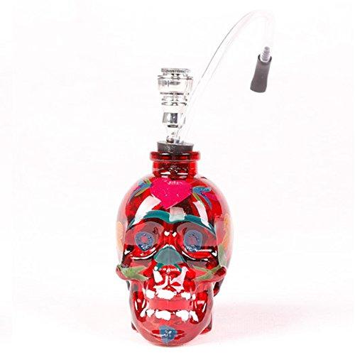 B-boger Stained Skull Glass Hookah Shisha Pipe(Red)