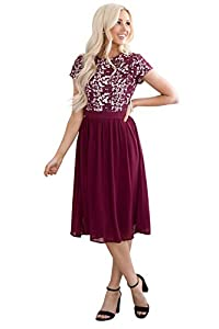 Jen Olivia Lace & Chiffon Modest Dress, Modest Semi-Formal Dress, Prom Bridesmaid Dress