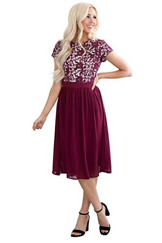 Olivia Lace & Chiffon Modest Dress in Burgundy Wine - XXL, Modest Semi-Formal Dress, Prom or Bridesmaid Dress in Dark Red