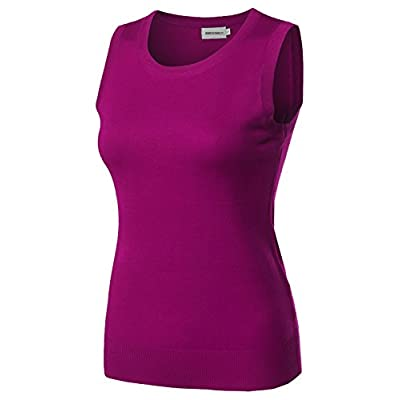 Viscose Solid Office Career Soft Stretch Sleeveless Knit Top Magenta Size S at Women's Clothing store