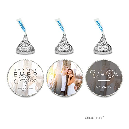 Custom Label Chocolate - Andaz Press Photo Personalized Beloved Wedding Collection, Chocolate Drop Labels for Hershey's Kisses, 216-Pack, Custom Image