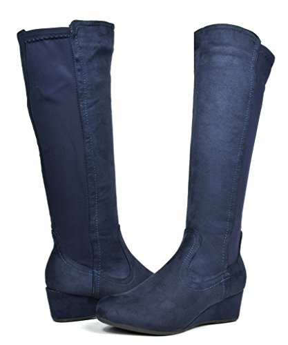 DREAM PAIRS LEVVE Women's Fashion Elastic Panel Fur Interior Low Wedge Knee High Boots Dark Blue