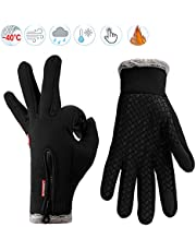 Lzfitpot Winter Warm Gloves, Anti Slip Touch Screen Gloves Windproof Thermal Gloves Cold Weather Cycling Gloves for Men Women