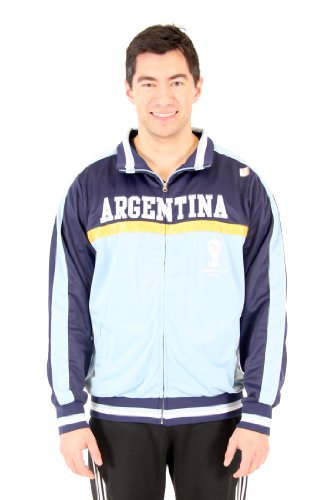 Men's 2014 FIFA World Cup Soccer Hat Trick Argentina Yoke Track Jacket (Adult Large) (Country Jacket Track Soccer)