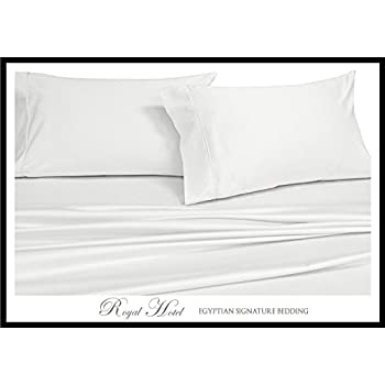 Royal's Solid White 1000 Thread Count 4pc Queen Bed Sheet Set 100% Cotton, Sateen Solid, Deep Pocket