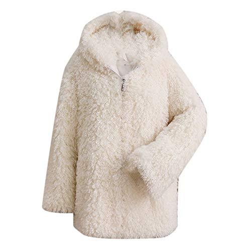 de Chaqueta White de manga mujer con Outwear gruesa abrigo larga invierno de de Rcdxing piel de con felpa cremallera con Chaqueta Desgastar de piel Ropa sintética capucha 5SxZnR1Fx