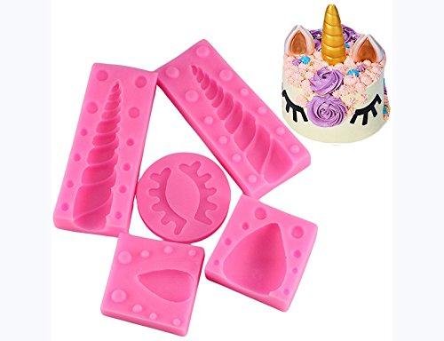 Mujiang Unicorn Silicone Cake Topper Molds Fondant Cake Decoration Molds Unicorn Horn Ears and Eyelash Set (5 Pcs/set) by Mujiang (Image #2)
