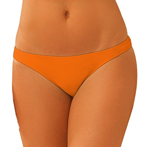 ni Bottom Smart Ruched Semi Thong Brazilian Cheeky T-Back Booty Solid Color Girls Orange l ()