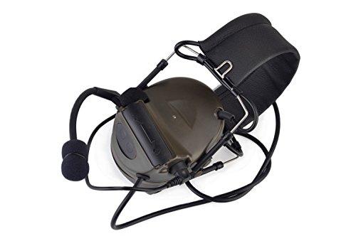 (IRON JIA'S Hunting Headset Shooting Tactical Earmuffs Aviation Headphone Noise Canceling Hearing Protection NATO Plug (Dark Brown))