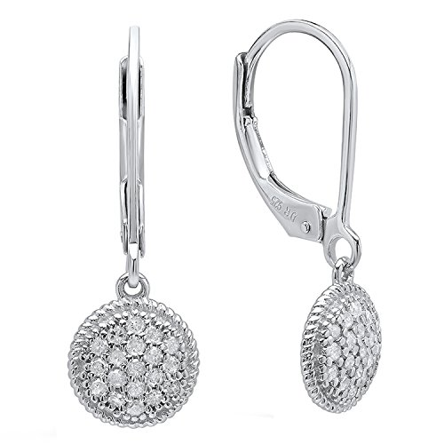 Dazzlingrock Collection 0.35 Carat (ctw) Round White Diamond Dangling Drop Earrings 1/3 CT, Sterling Silver ()
