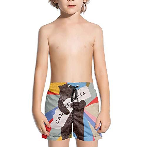 LKIMNJ Boys Swim Trunks Triangular Prism California Bear Map Quick Dry Bathing Suits Beach Board Shorts