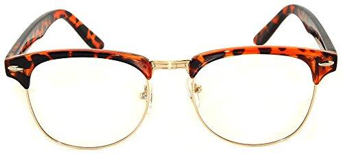 Stylish Leopard-Gold Half Frame Sunglasses Clear Lens UV - Framed Half Glasses