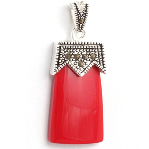 nmade Red Coral BeadsMarcasite Silver Base Pendant
