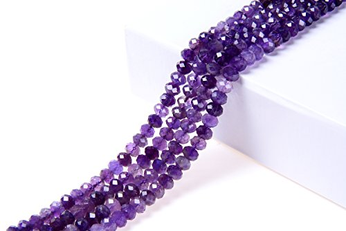 (Goodbead Faceted Rondelle Amethyst Gemstone Beads 15.5