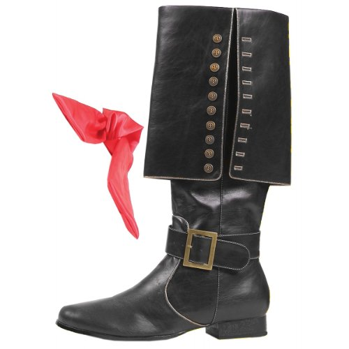 Ellie Shoes Mens Deluxe Black Pirate Boots - Mens Medium Shoe -