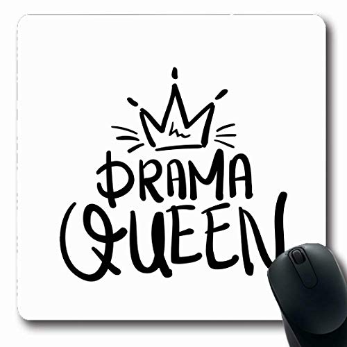 Ahawoso Mousepads for Computers Crown Drama Queen Graphics Slogan Tee Design Oblong Shape 7.9 x 9.5 Inches Non-Slip Oblong Gaming Mouse Pad