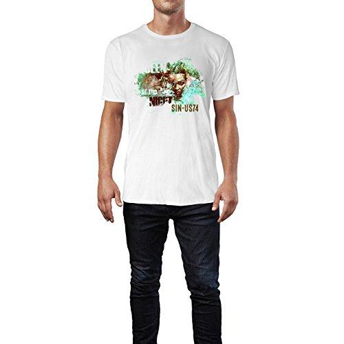 SINUS ART® Queen Of The Night Collage mit Frau Herren T-Shirts in Weiss Fun Shirt mit tollen Aufdruck
