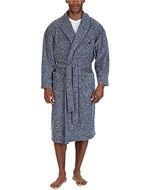 Men's Marled Fleece Shawl Collar Robe (One Size, MoodIndigo)