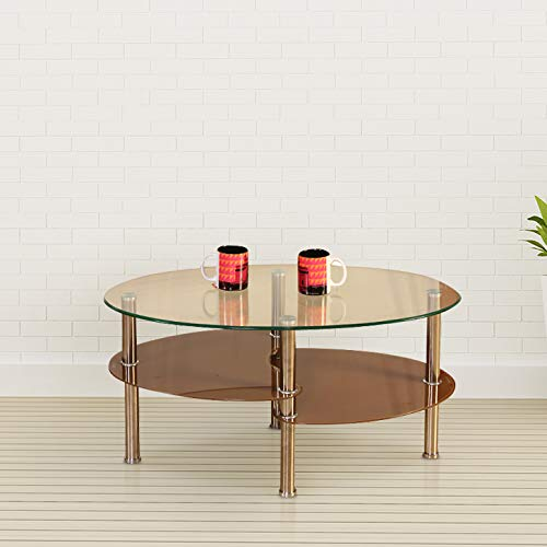 HomeTown Luna Glass Center Table in Brown Colour
