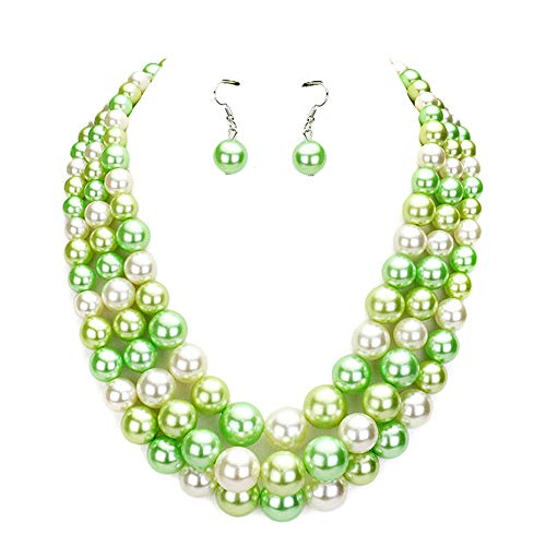 Women's Simulated Faux Three Multi-Strand Pearl Statement Necklace and Earrings Set (Lime Mix Tone) (Costume Fashion Jewelry Necklace)