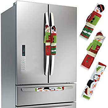 Alcoon Set of 3 Christmas Snowman Refrigerator Door Handle Covers Kitchen Appliance Handle Covers Christmas Decoration for Refrigerator Microwave Oven Dishwasher Kitchen Appliances 6 x 9 Inch