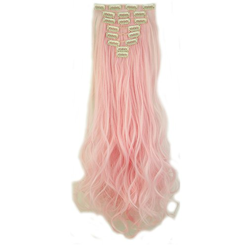2-5 Days Delivery Clip in Hair Extensions 30colors Synthetic Hairpiece Straight Wavy Curly Full Head Highlight 8pcs Black Brown Blonde Grey Purple Pink White by Sexybaby (Image #1)