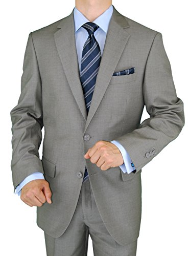 Price comparison product image Gino Valentino 2 Piece Men's Side Vents Jacket Flat Front Pants 2 Button Light Gray Suit (46 Regular US / 56 Regular EU)