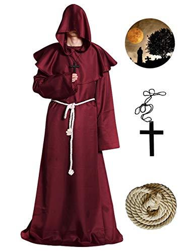 (Bess Bridal Men's Medieval Priest Monk Robe-Hooded Cap Cloak Halloween Costume, Burgundy,)